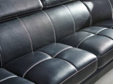 U-Form-Leder-Sofa, modernes Sofa, schwarzes Farben-Sofa (A302)