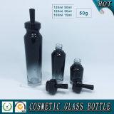 Бутылки покрашенные чернотой пустой косметики упаковывая стеклянные и опарникы