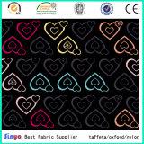 O poliéster 100% ensaca a tela da impressão do coração da bagagem com revestimento protetor do PVC
