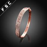 Pulsera del cobre del encanto del Rhinestone del estilo del chapado en oro de Rose de la vendimia nueva