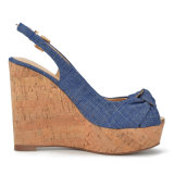(Donna - in) Fashion Floral Cloth/Denim Metal Patch High Heel Women Cork Wedge Sandals