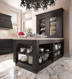 Compartiment en bois foncé de luxe de cuisine de type américain avec le Module en verre d'île et d'espace libre à vendre
