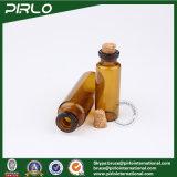 5ml 10ml frasco de vidrio de color ámbar con tapón de corcho botellas de aceite esencial de vidrio