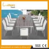 Textilene 양극 처리된 알루미늄 고리 버들 세공 플라스틱 목제 옥외 가구를 가진 최고 홈 또는 호텔 또는 대중음식점 정원 가구 절묘한 중형 식탁 세트