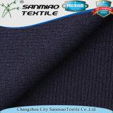 Tela del dril de algodón del Knit de la costilla del Spandex del algodón el 7% del añil el 93%
