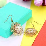 18k de gouden Oorringen van Vrouwen bloeien de Holle Eardrop van Vrouwen Gouden Juwelen van de Kleur
