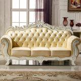 Sofa en cuir de salle de séjour avec le Tableau en bois pour les meubles à la maison