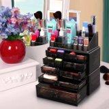 Boîtes de présentation cosmétiques de tiroirs de mémoire d'organisateur de renivellement acrylique