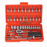 Schlüsselschlüssel-Kontaktbuchse-gesetzte Auto-Reparatur-Hilfsmittel-Schaltklinken-Schlüssel-gesetzte Drehkraft-Schlüssel-Kombination des ROT-46PC