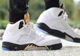 Первоначально воздух Jorda Nik ботинок спортов 5 ботинок баскетбола золотой медали