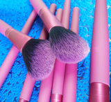9 do cabelo sintético de madeira vermelho do punho de Rosa partes da escova cosmética da composição da escova