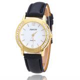 La flor más nueva impresa mira a señora analogica cristalina Dress Leather Reloj Relogio del Rhinestone del reloj del cuarzo del diamante de las mujeres de la manera