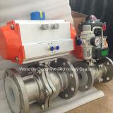 Plein robinet à tournant sphérique gauche pneumatique de l'acier inoxydable 2PC avec le certificat de la CE