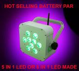 PARITÉ plate sans fil de la batterie chaude bon marché DEL de 9PCS Rgbaw