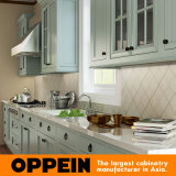 Oppein moderne grüne Anrichte Luxux-PVC-Küche-Schrank (OP15-PVC03)