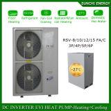 Evi Tech. -25cの冷たい冬の床の家の暖房100~300sqのメートルの別荘12kw/19kw/35kwは包まれたヒートポンプ分割されたシステムの自動霜を取り除く