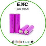 Bateria elevada da bateria de íon de lítio 2000mAh do dreno 25A 18650 3.8V