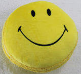 Het ronde Hoofdkussen van de Bank van het Borduurwerk van de Glimlach van de Vorm Zijde Gevulde