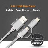 2 en 1 cable de carga del USB del nilón del metal