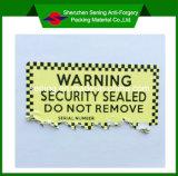 Collant d'avertissement adhésif de papier anticontrefaçon destructible