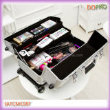 Wheels (SATCMC007)를 가진 은 Double Open Makeup Carrying Case