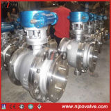 Getto Steel Flanged Trunnion Ball Valve con Worm Box