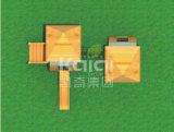Kaiqi scherza il campo da giuoco esterno delle capanne di legno con le scale, le trasparenze ed il ponticello di corda (KQ60079B)