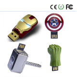 Projeto 2GB/4GB do capacete do homem do ferro do metal, movimentação do flash do USB de /8GB/16GB/ 32GB
