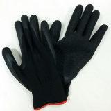 Roter Polyester-Handschuh-Windung-Latex-überzogene Handschuhe, die Arbeitshandschuh aufbauen