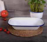 A placa retangular do pão do prato da salada da placa da manteiga do esmalte do Kitchenware pintou/pulverizado