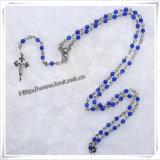 L'opale della natura placcato argento borda il modo trasversale del rosario delle collane religioso (IO-cr130)