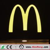 고품질 크롬 금속 LED Backlit 수지 채널 편지 표시