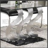 Tabelas elegantes de vidro da sala de jantar dos pés S-Inoxidáveis modernos novos (NK-DT213-1)