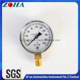 indicateur de pression de tube de bourdon 200psi avec la caisse radiale d'acier de noir de sens