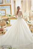 Lacet nuptiale de talons de robes de bille de Tulle outre d'épaule plus la robe de mariage de taille