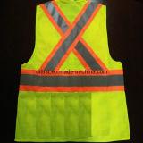 Chaleco de la seguridad con la tela y el acoplamiento que hacen punto reflexivos de la venda 100%Polyester de la precaución