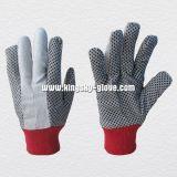 Trabalho de mão pontilhado PVC Glove-2205 do algodão da broca da luva do algodão