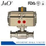 Válvula de esfera sanitária da maneira do aço inoxidável 2 com atuador