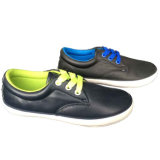 Zapatillas de deporte femeninas de la Inferior-Tapa/masculinas ocasionales superiores de cuero negras de lujo de atracción planas