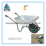 Galvernized ou Coating Metal Tray Wheelbarrow com Pneumatic ou Solid Wheel