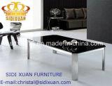 Rectangeの家具を食事する黒いガラスコーヒーテーブルのステンレス鋼