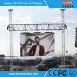 P6 pantalla al aire libre a todo color del alquiler LED para hacer publicidad