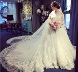 어깨 가득 차있는 소매 레이스 패턴을%s 가진 신부 웨딩 드레스 떨어져