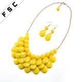 Novo conjunto de jóias de moda banhado a ouro com resina redonda
