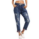 OEMによって裂かれる女性の細いジーンズのブランドデザイナーデニムのジーンズ