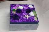 Fiori conservati della Rosa con la casella per i favori del regalo di giorno del biglietto di S. Valentino di compleanno della festa nuziale