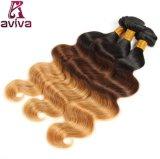 La armadura peruana de las extensiones del pelo humano de Remy de la onda de la carrocería del pelo de Ombre lía bulto del pelo de dos tonos