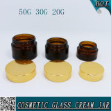 tarros de masón cosméticos de cristal ambarinos del envase de 20ml 30ml 50ml con el casquillo del oro