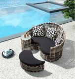 A mobília do pátio do Rattan ajustou-se com jardim do hotel
