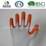 gants de jardinage enduits de sûreté de travail de caoutchouc spongieux 13G